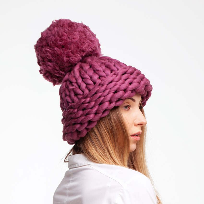 winter accessories. Super chunky pom pom hat winter hat large pom pom hat hand knit